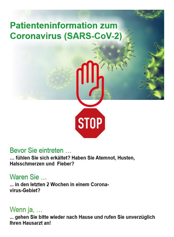 Patienteninformation zum Coronavirus der Praxis Hinz